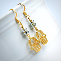golden hamsa drop earrings, yoga, french hook, shimmer, gold, silver, sparkle, meditation
