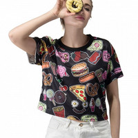 Black Yummy Food Printed Crop Top
