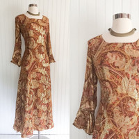 sheer sienna paisley vintage 70s gold metallic print full sweep hippie boho cocktail maxi dress // trumpet sleeves // size L