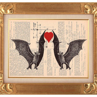 Dancing Bats-ORIGINAL  ARTWORK, hand painting on the pages of the antique  magazine 1920s