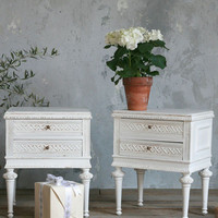 Vintage Pair of Ice White Vintage Nightstands c. 1940 - $1245/pr - The Bella Cottage