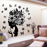 Wall Sticker Home Decor Butterfly Flower Fairy Girl Design Removable PVC Decal Home Decor