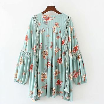 Flower Print Babydoll Swing Tunic Mini Dress V-Neck Long Sleeve Women Dresses Hollow Lace Boho Casual Dress Beach Vestido