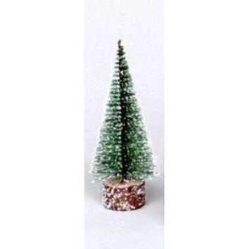 "9"" Frosted Green Bottle Brush Artificial Mini Pine Christmas Tree"