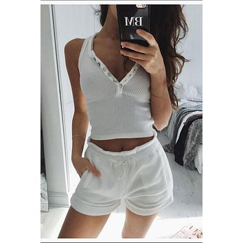 Deep V-neck Solid Color Buttons Crop Top with Shorts Two Pieces Set