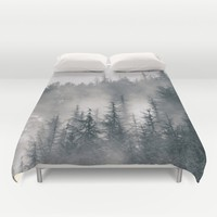 """Mountain light II"". Foggy forest. Duvet Cover by Guido Montañés"