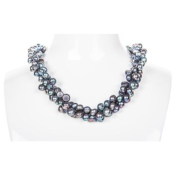 Triple Strand Blue-Grey Freshwater Button Pearl Necklace