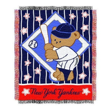 MLB New York Yankees 36-Inch-by-46-Inch Woven Jacquard Baby Throw