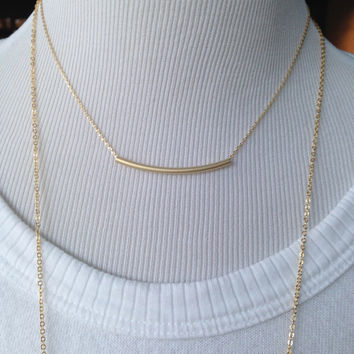 Gold Necklace, layered necklace, Gold bar necklace, wedding jewelry, personalized, mothers day gift