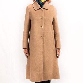 Light Camel Cashmere & Wool Single Breasted Four Buttons Bal Collar Long Coat