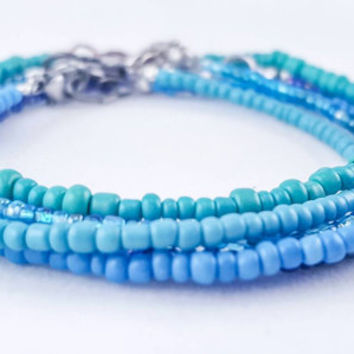 Simply Stackable Seed Bead Bracelets // Mermaid Bracelet Bundle //Aqua + Turquoise + Violet + Ocean Blue + Sky Blue// Nickel Free Option