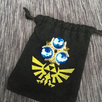 Zora's Sapphire Pendant Legend of Zelda badge pins in black  Winged Triforce drawstring bag cosplay CollectionKawaii Pokemon go  AT_89_9