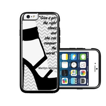 RCGrafix Brand Marilyn Monroe Quote Girl Shoes Grey Chevron iPhone 6 Case - Fits NEW Apple iPhone 6