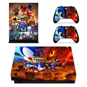 X0033 Game accessories Skin Sticker for Microsoft Xbox One X Console and 2 Controllers skins Stickers for XBOXONE X Enhanced