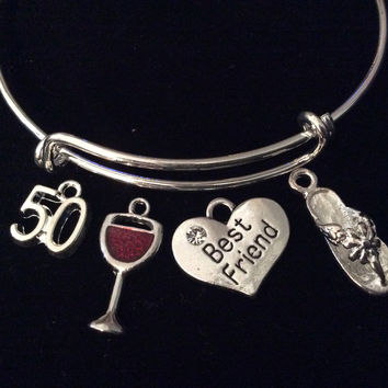 Heart Best Friends Happy 50th Birthday Wine Glass Flip Flop Expandable Silver Charm Bracelet Adjustable Bangle Gift
