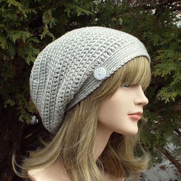 Light Gray Slouch Beanie - Womens Slouchy Crochet Hat - Oversized Slouchy Beanie - Hipster Hat - Baggy Beanie - Slouchy Hat with Button