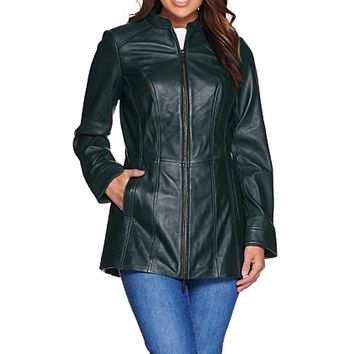 Denim & Co. Women's Lamb Leather Stand Collar Jacket