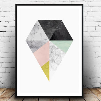 Diamond print, Marble decor, Housewares, Interior design, Geometric print, Abstract art, Scandinavian print, Watercolor art, triangle print