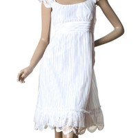 Ever Pretty Chic White Lace Knee-length Double Layer Ruffles Cocktail Dress 02713, HE02713WH16, White, 14US - save winkie Shop