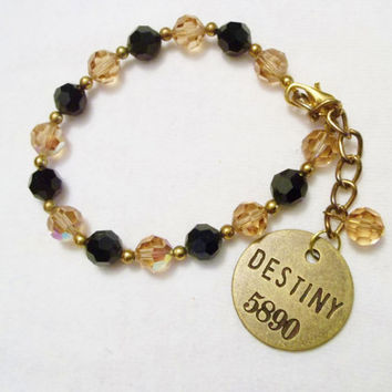 Cute Amber and Black Bead Bracelet, Brass Charm, Destiny, Handmade, Beaded