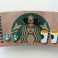Set of Three (3) Upcycled Starbucks Stud Earrings