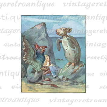 Printable Graphic The Griffin and Mock Turtle Alice in Wonderland Digital Download Color Image for Transfers Pillows HQ 300dpi No.2838