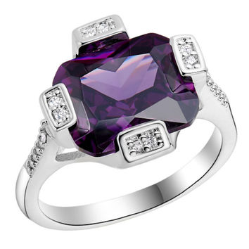 silver plated wedding square purple paved cz diamond big ring8 - Purple Diamond Wedding Ring