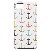 Vintage retro sailor girly floral nautical anchors iPhone 5 cover from Zazzle.com