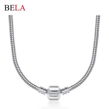 2 Style 44CM 925 Silver /Gold Charm Fit Pandora Necklace Snake Chain Necklace Silver 9