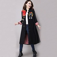 Trench Coat for Women Cotton Linen Vintage Long Trench Coat Patchwork Women Trench Coat Embroidery Winter Trench Coat Size M-XL