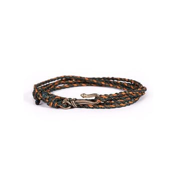 Green + Orange Braided Rope Men's Bracelet