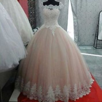 Cap Sleeves Blush Ball Gown Wedding Dress with Ivory Lace