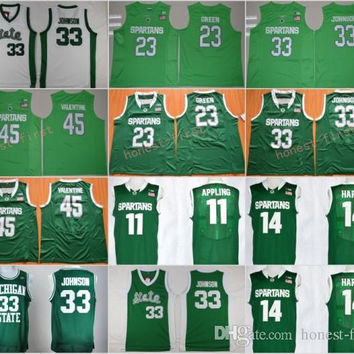 Michigan State Spartans College Basketball Jersey 33 Earvin Magic Johnson 45 Denzel Valentine 23 Draymond Green 11 Keith Appling 14 Harris