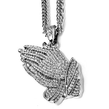 18K White Gold Filled Iced Out Praying Hands Pendant Necklace