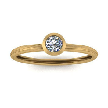 14K Yellow Gold Promise Ring Engagement Ring Diamond Band Stack Band Wedding Band  Right Hand Ring. OR00010