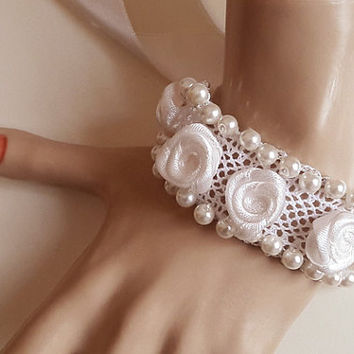 Ivory Pearl Glass Bracelet Lace Bracelet Rose Bracelet Bridal Jewelry Bridesmaid Wedding Jewelry Bride Etsy Weddings  gift Handmade ribbon