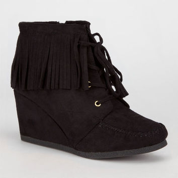 City Classified Wig Womens Wedge Booties Black  In Sizes