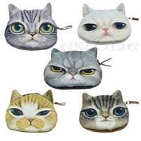 New Cute Cat Face Zipper Case Coin Purse Wallet Makeup Buggy Bag Pouch = 1669155972
