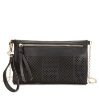 Black Laser Cut-Out Cross-Body Purse by Charlotte Russe