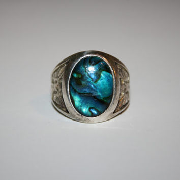 Size 11 Vintage Teal Paua with Eagles Sterling Silver Ring Free US Shipping