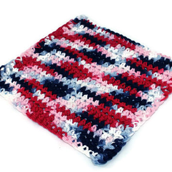 Red white & blue washcloth, crochet washcloth, wash cloth, cotton washcloth, cotton dishcloth, cotton face cloth, patriotic dishcloth