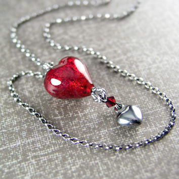 Red Heart Pendant Necklace Sterling Silver Italian Murano Glass Heart Necklace Garnet Red Heart Necklace