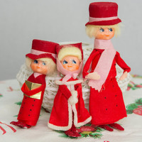 Vintage Christmas Carolers 1960's Felt Decorations Adorable set of 3 Dolls Noel Ornaments