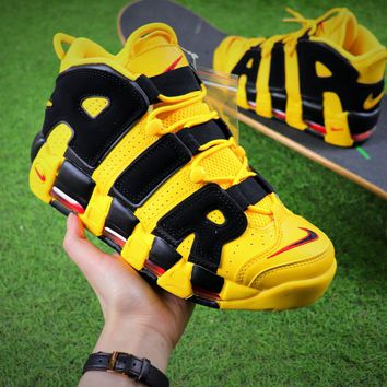 Nike Air More Uptempo QS Yellow Black Retro Basketball Shoes-1