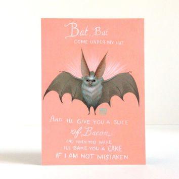 Bat, Bat Come Under my Hat - signed 4 x 5.75 Mini Art Print by Mab Graves - unframed - open edition