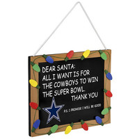 "Dallas Cowboys NFL Chalk Sign Christmas Ornament 12"" X 13"""