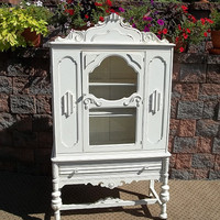 OMG Shabby Designer Painted White CHIC China CABINET Display  Storage Cupboard