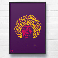 Jimi Hendrix 'Are You Experienced' Lyric A2 Canvas Poster