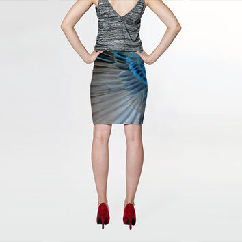 Blue Feather - Fitted Skirt - Pencil Skirt - Knee Skirt - Small Medium Large Extra Large, S M L XL - Women's Skirt Clothing