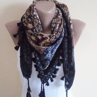 Cotton Scarf, Women Scarf, shawl, unique cheesecloth, stylish accessory, tassel edges cotton scarf, spring trends, mom gifts.